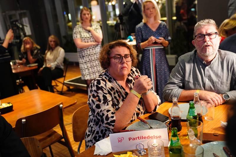 KrFs Olaug Bollestad etter at den første valgprognosen ble klar.