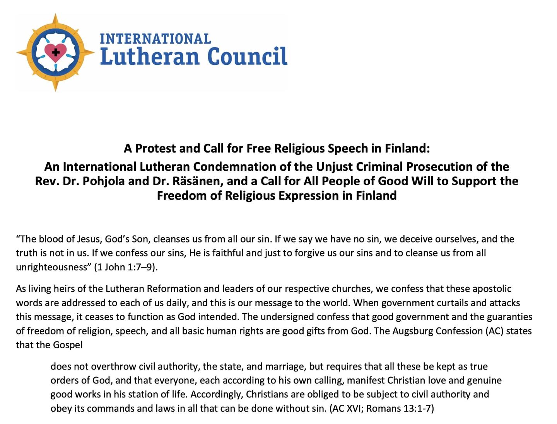 Brev fra International Lutheran Council om trosfrihet i Finland. Rådet fordømmer behandlingen av Dr. Päivi Räsänen og Dr. Juhana Pohjola.