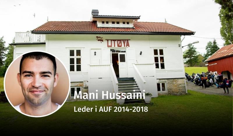 Mani Hussaini, AUF, 22. juli, debatt